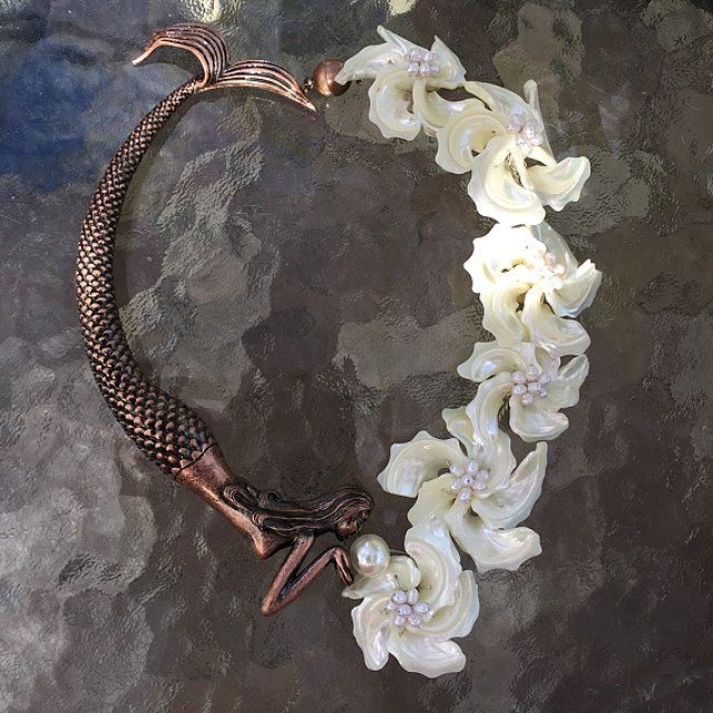 Copper Mermaid Tube And Shell Art Silk And Jewelry