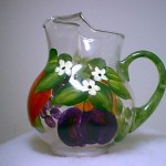 Handpainted glass pitcher