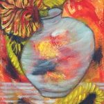 Fall painting flower vase